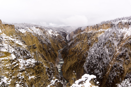 A view of Yellowstone River in the snow