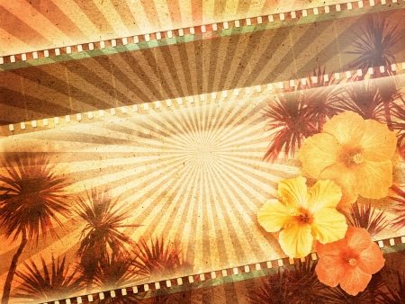 old movies: Background with film strips, palm trees and hibiscus flowers  Stock Photo