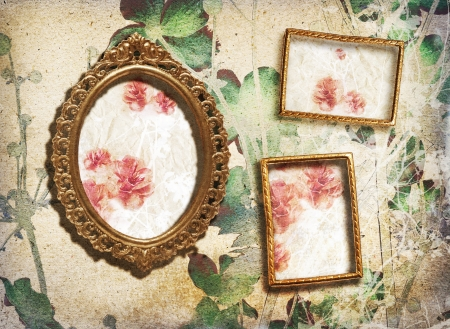 vintage photo border: Gallery small golden vintage frames on the wall