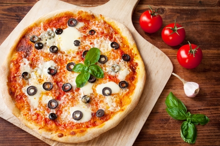 Fresh Homemade Pizza Margherita with Olives and Mozzarella