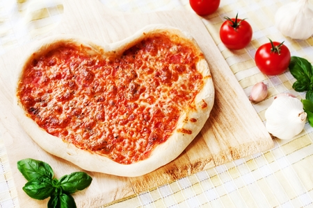 Heart-shaped Margherita Pizza