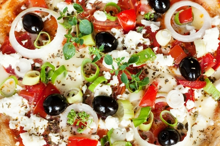 Fresh Vegetarian Greek Style Pizza Background