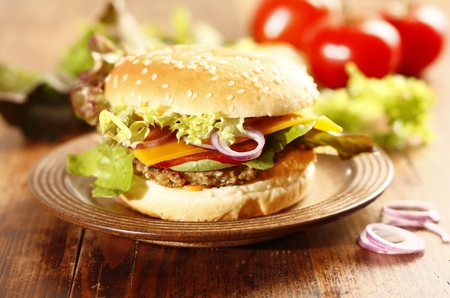 Fresh vegetarian burger with hazelnut mushroom patty x