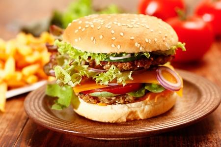 Vegetarisch Cheeseburger und Pommes Frites Französisch