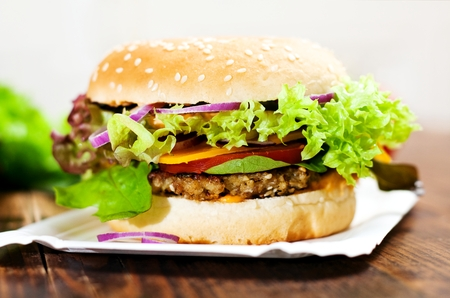 Fresh vegetarian burger with hazelnut mushroom patty