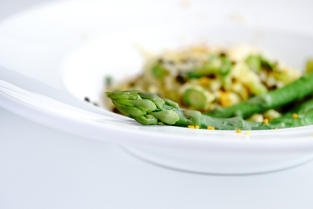 Green Asparagus Risotto with Beluga Lentils and Orange Sauce Hollandaise