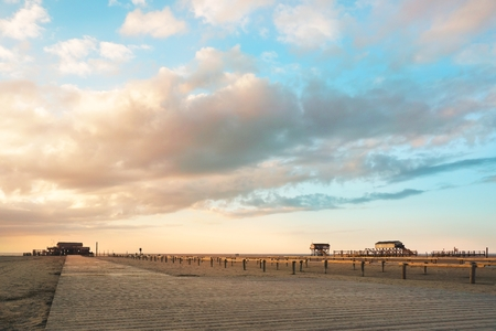 Sunset on the Beach, St. Peter Ording  Germany Stock Photo