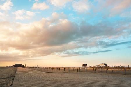 Sunset on the Beach, St. Peter Ording  Germany Standard-Bild