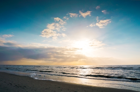 Sunset on the beach / Germany, St. Peter-Ording Stock Photo - 81813134