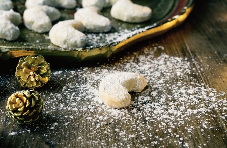 Traditional Vanilla Cookies with Icing Sugar Stock Photo - 89876140