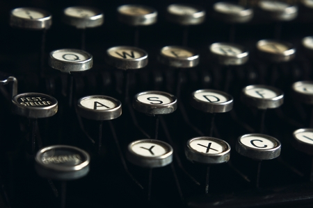 Nostalgic Black and White Typewriter Keys Background Stock Photo - 89830595