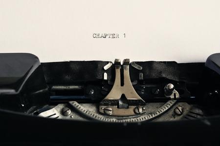 Nostalgic Black and White Typewriter Background / Chapter 1 Stock Photo - 89835875