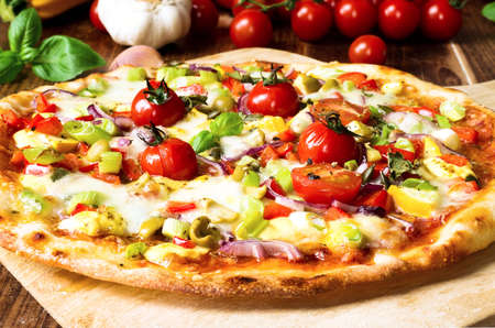 Fresh Homemade Pizza with Vegetables Stock Photo