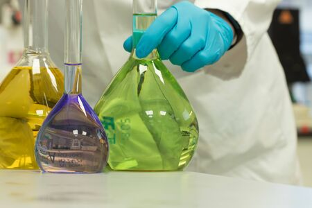 Chemical analysis of lab solutions by a chemist