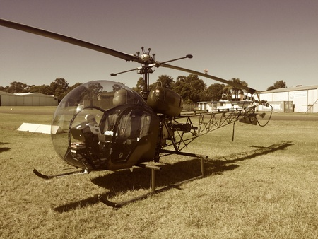 style: Bell 47 helicopter MASH Style Stock Photo