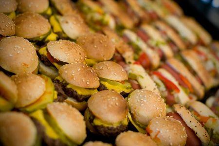 Miniatura perros calientes y hamburguesas Foto de archivo - 3148160