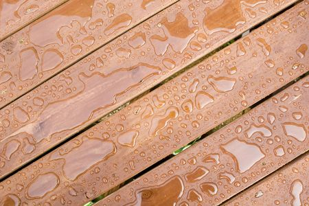 precipitate: Rain Drops on a sealed wooden surface