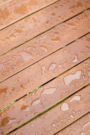 impervious: Rain Drops on a sealed wooden surface