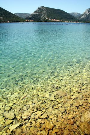 Water overlooking urchins and rocks Imagens