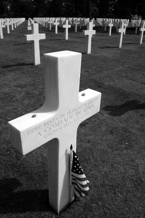 unmarked: Unmarked grave at Omaha beach in Normandy Stock Photo