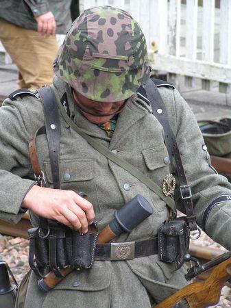 reenact: Soldado  Foto de archivo