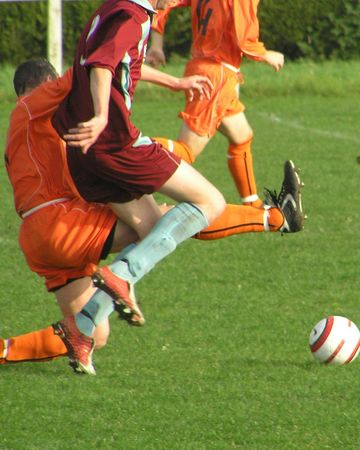 Action from Football Match Stock Photo
