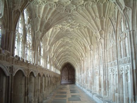 Gloucester cathedral - Cloisters Stock Photo