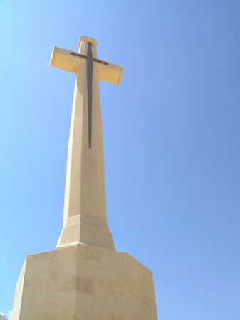 cemetry: Memorial Cross at British Cemetry, El Alamein, Egypt Stock Photo