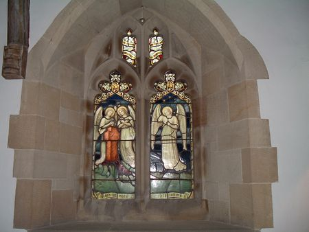 cruis: Stained Glass Window of Rug Chapel, North Wales Stock Photo