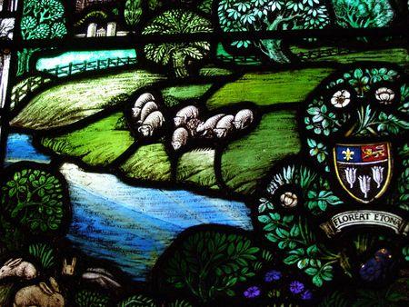 Vetrata in Hereford Cathedral  Archivio Fotografico