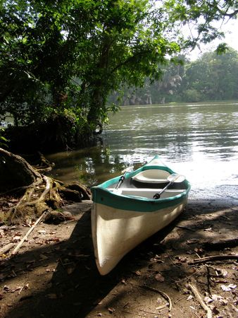 Kayak next to Canal near Tortuguero, Costa Rica