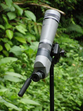 canal parade: Spotting telescope, Monteverde Cloud Forest, Costa Rica - bird watching wildlife watching