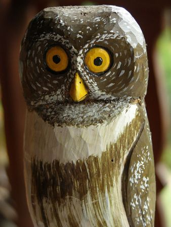 canal parade: Wooden Owl, Costa Rica Stock Photo