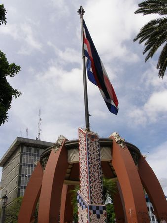 jose: National Flag in Central Park, San Jose, Costa Rica