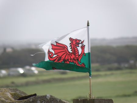 welsh flag: Bandiera gallese soffia nel vento