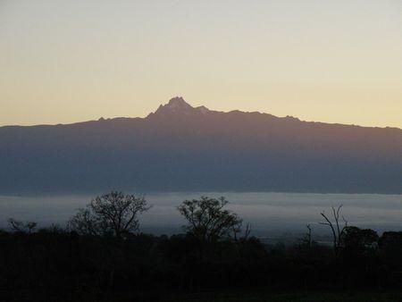 aberdares: Kenya Safari, Sunrise over Mount Kenya Stock Photo