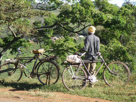 lake nukuru: On a bike in Kenya Stock Photo