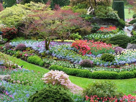 Butchart Gardens, Victoria, Canada in the Spring - From Above
