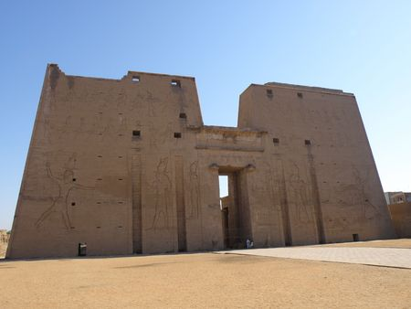 the obelisk:  Edfu Temple River Nile Egypt Stock Photo