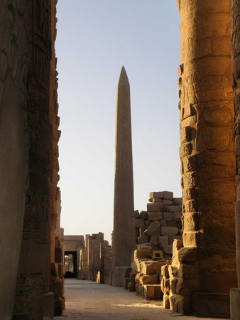 Columns and Obelisk at Karnak Temple Luxor Egypt River Nile Stock Photo - 4996109
