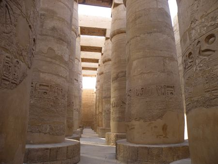 the obelisk: Columns at Karnak Temple Luxor Egypt River Nile