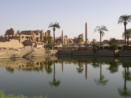 Sacred Lake with reflection at Karnak Temple Luxor Egypt River Nile