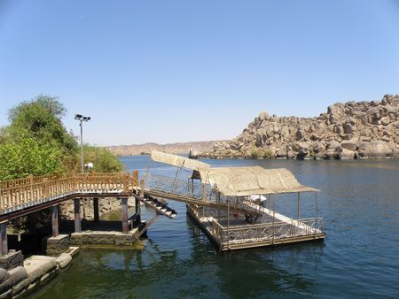 the obelisk: Boat dock at Philaue temple Aswan  River Nile Egypt