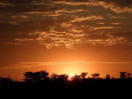maasai mara: Sunrise over the masai mara Stock Photo