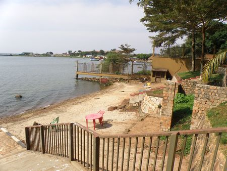 Messy Hotel beach in Entebbe on shores of Lake Victoria