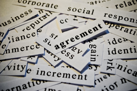 Agreement, cut-out of words related with business photo