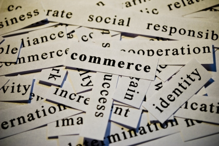 Commerce, cut-out of words related with business photo