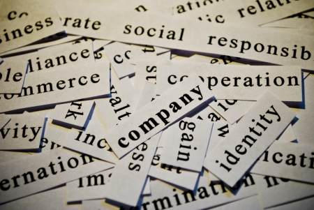 Company, cut-out of words related with business Stock Photo - 17753279