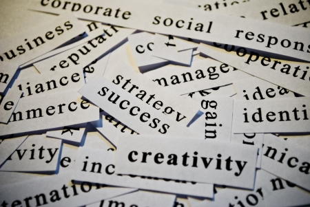 Creativity, cut-out of words related with business Stock Photo