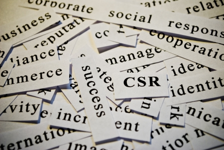 csr: CSR, cut-out of words related with business Stock Photo